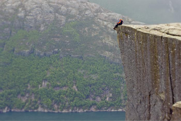 Výhľad. Preikestolen, Nórsko.