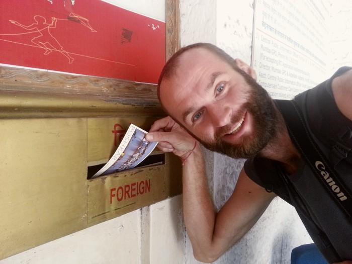 Mumbai, pošta, India, pohľadnica