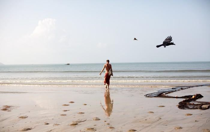 Správne zdechnutá Palolem beach.