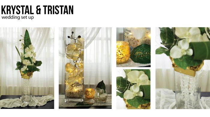 Svadobné dekorácie s orchideí a tropických listov na stôl.
