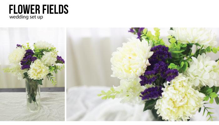 Kvetinové dekorácie na stôl. Biele a fialové kvety