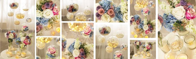 Modro ružová svadobná dekorácia