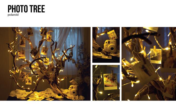 Svetielkujúci strom ozdobený polaroidovými fotkami. Svadobná dekorácia