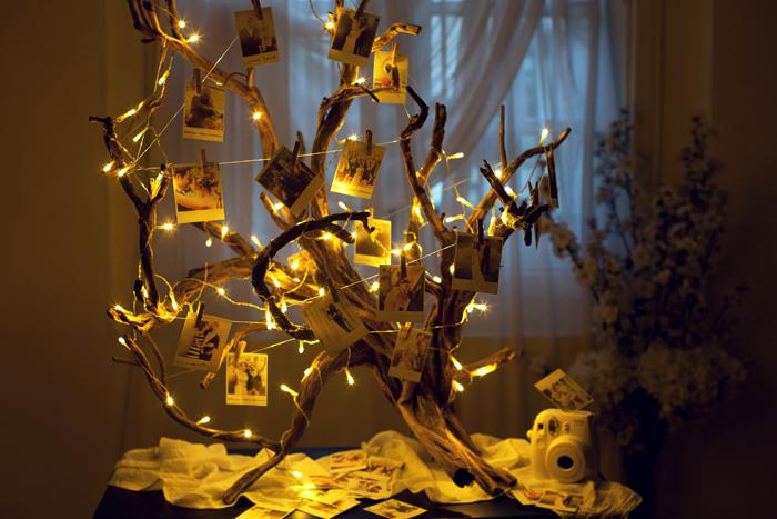 Svetialkujúci strom ozdobený polaroidovými fotkami. Svadobná dekorácia.