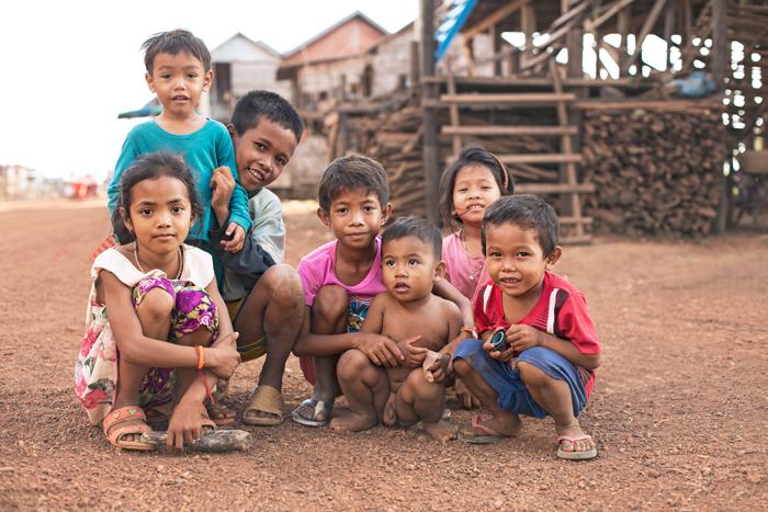 Deti na ulici v Kambodži