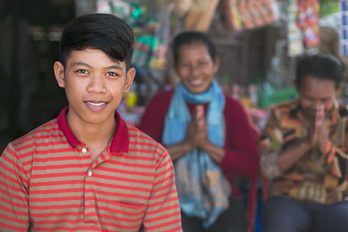 Rodina v Kambodži.