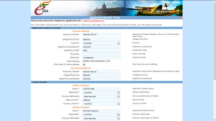 eTV - Aplicant Details Form