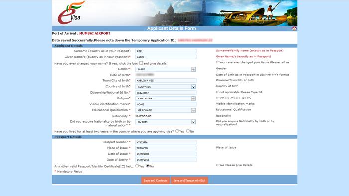 eTV - elektronické víza do Indie, stránka Aplicant Details Form