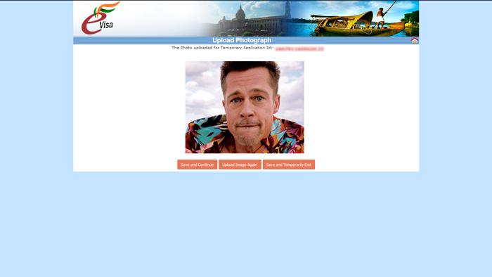 eTV - elektronické víza do Indie, stránka Upload Photograph