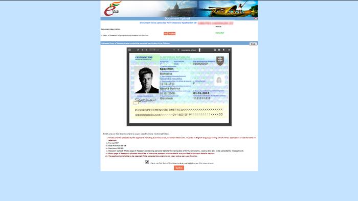 eTV - elektronické víza do Indie, stránka Document Upload