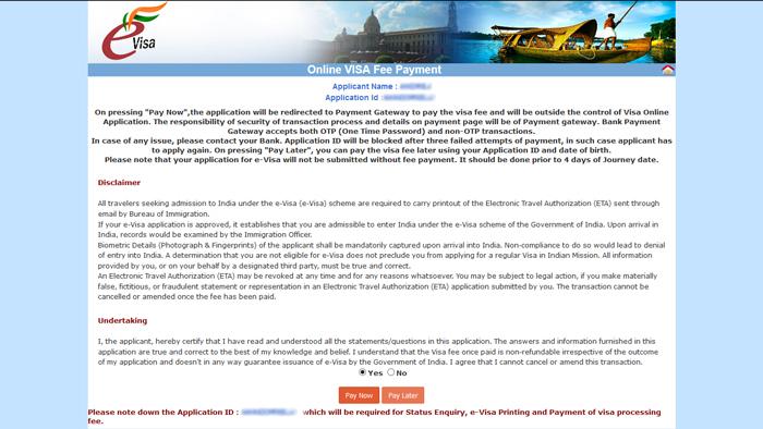 eTV - elektronické víza do Indie, stránka Online VISA Fee Payment